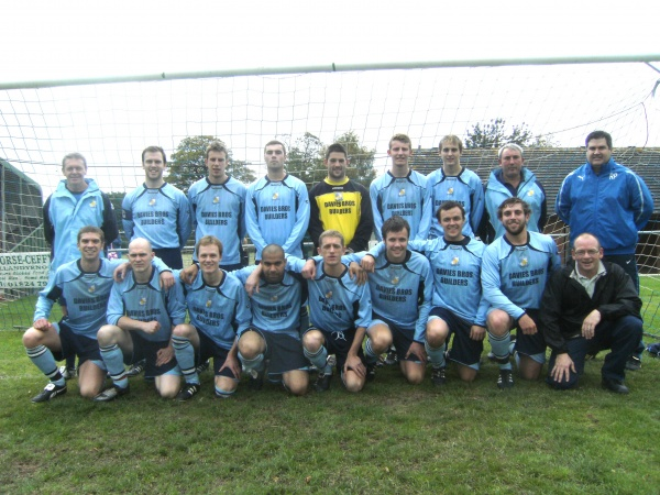 Back: Gwynfor Evans (Assistant Manager) , Adam Lloyd (Captain) Simon Brown, Liam Jones, Stuart Griffths, Josh Davies, Alex Ballard, Mark Langford-Jones (Coach), Russel Pierce (Manager)