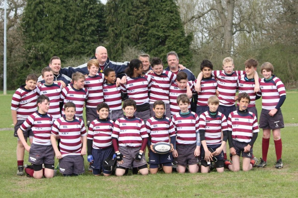 April 2013 - The squad celebrating winning the Saracens Herts and Middlesex Division 1 title with a 100% winning record.