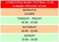 SUMMER CLUB OPENING HOURS