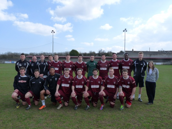 Back Row L-R: Paul Milsom (Asst Manager), Andy Crabtree (Coach), Josh Jeffries, James Vincent, Craig Loxton, Stuart Pearson, Joe Bushin, Kyle Phillips, Marcus Mapstone, Scott Brice, Nick McCootie,Nick Bunyard (Manager), Maizie Phillips (Physio)/