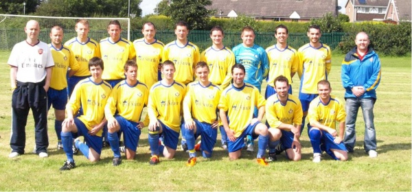 Back Row. M Fee (Assistant Manager), S Cassidy, M Austin, J Haughian, R McLaverty, C Beckett, C McGeown, J Prentice, D Steele, C Halfpenny (Captain), J O'Brien (Manager)