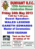 DUNVANT RUGBY CLUB GALA DINNER TO CELEBRATE 125th ANNIVERSARY ON MAY 24th-TICKETS ARE NOW ON SALE