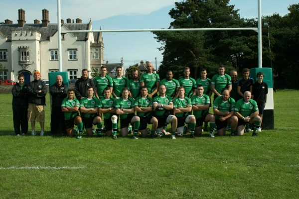 Back Row (Left to Right; Katie Land (Physio), Crimbo Badham (Forwards Coach), Mike Batey (Backs Coach), Jimmy Waring (Head Coach), Gareth Beach, Chris Meyers, Alan Wraight, Mark Davies, Anthony Tilley, Richie Williams, Ashley Wynne, Neil Jones-Davies (President).